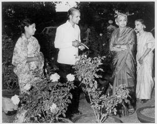 Ramrao and Chandralekha showing off their roses in 1975